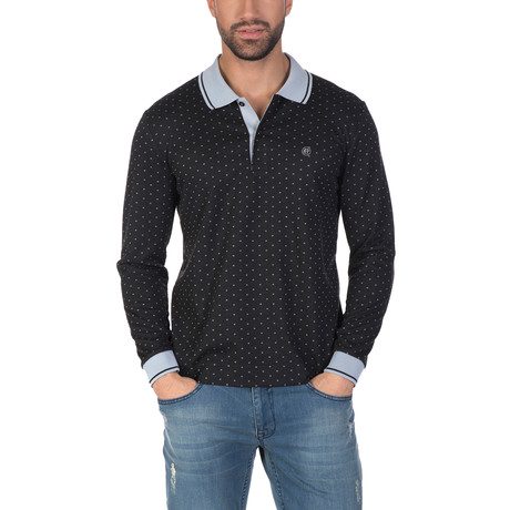 Matteo Long Sleeve Polo Shirt // Black (S)
