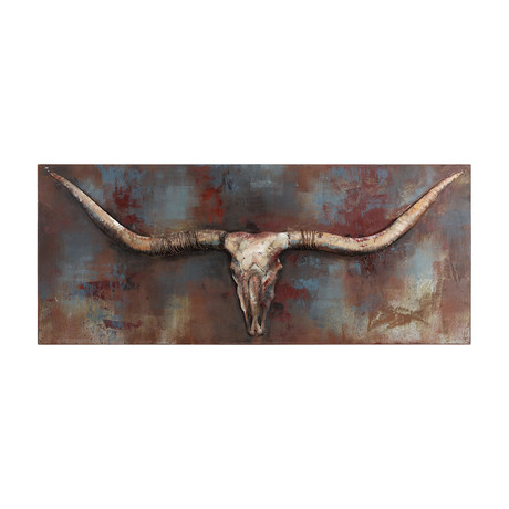 Long Horn // Mixed Media Iron Hand Painted Dimensional Wall Art