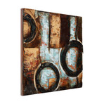 Revolutions 1 // Mixed Media Iron Hand Painted Dimensional Wall Art