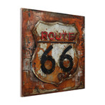 Route 66 // Mixed Media Iron Hand Painted Dimensional Wall Art