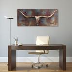Long Horn // Mixed Media Iron Hand Painted Dimensional Wall Art