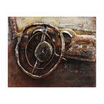 Benz // Mixed Media Iron Hand Painted Dimensional Wall Art