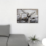 Retro Airplane 3 // Mixed Media Iron Hand Painted Dimensional Wall Art