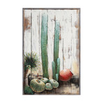 Cacti // Iron Wall sculpture + Wooden Wall Art