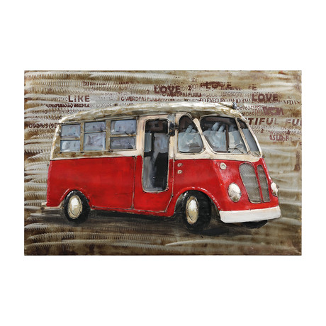 Red bus // Mixed Media Iron Hand Painted Dimensional Wall Art