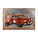 Red car // Mixed Media Iron Hand Painted Dimensional Wall Art