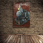 Train // Mixed Media Iron Hand Painted Dimensional Wall Art