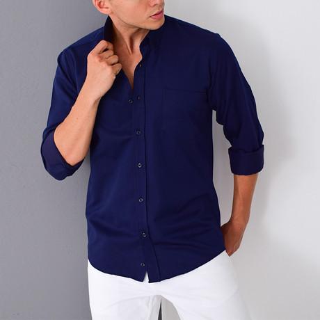 Jake Button-Up Shirt // Dark Blue (Small)