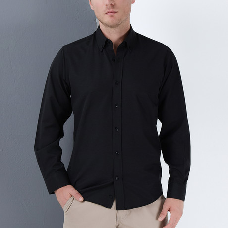 Elliot Button-Up Shirt // Black (Small)
