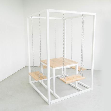 4-Seater Square // White + Cedar