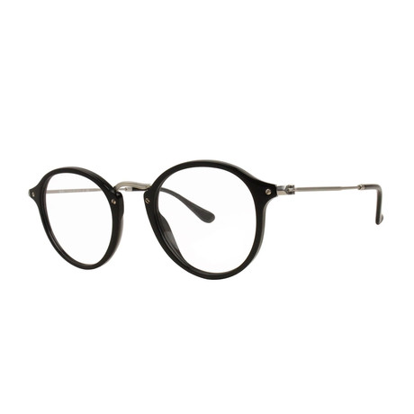 Men's Round Optical Frame // Black + Silver