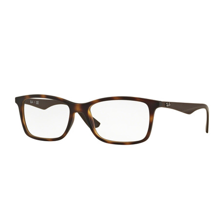 Men's 0RX7047 Rectangle Optical Frames // Matte Havana