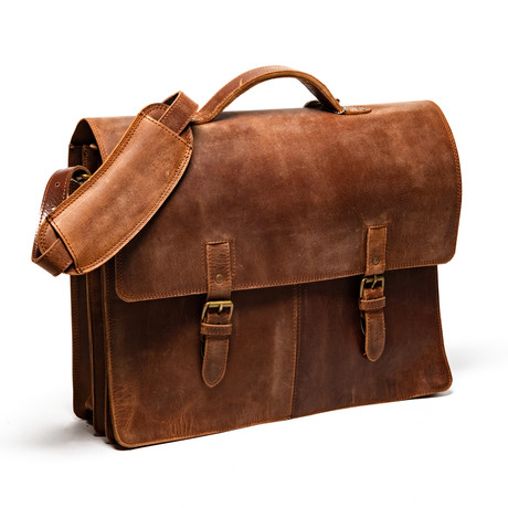 Complete Leather Briefcase // Distressed Brown