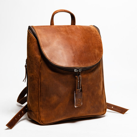 "Student Leather Backpack 14"" // Distressed Brown"