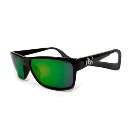 Unisex Monix Polarized Sunglasses // Carbon Fiber + Chrome Green