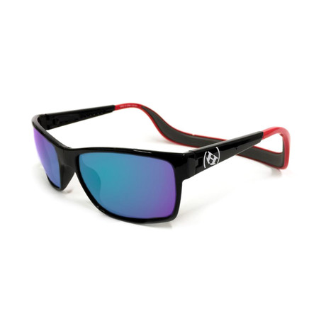 Unisex Monix Polarized Sunglasses // Red Gloss + Sky Blue