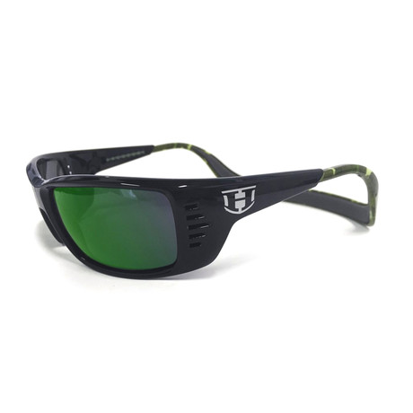 Unisex Meal Ticket Polarized Sunglasses // Green Camo + Green Chrome