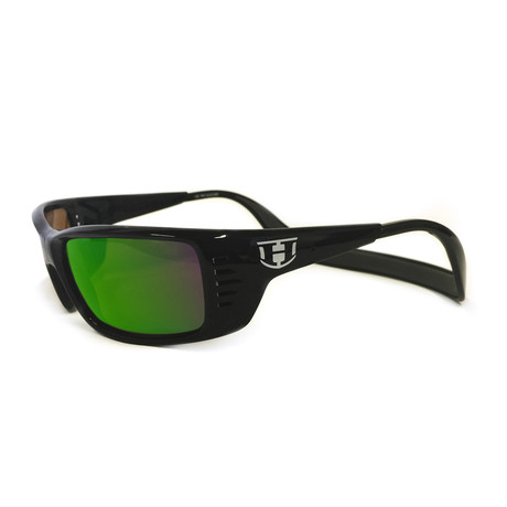 Unisex Meal Ticket Polarized Sunglasses // Black Gloss + Green Chrome