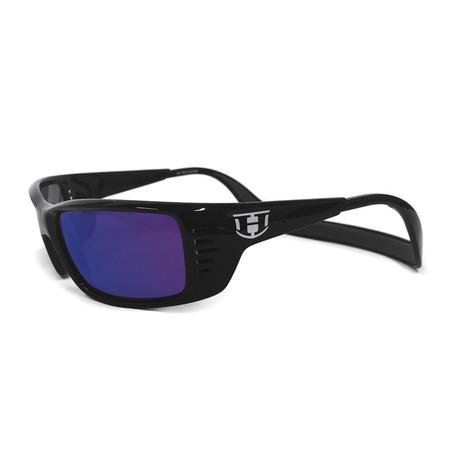 Unisex Meal Ticket Polarized Sunglasses // Black Gloss + Tahoe Blue