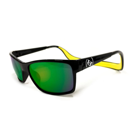 Unisex Monix Polarized Sunglasses // Black Gloss + Green Chrome
