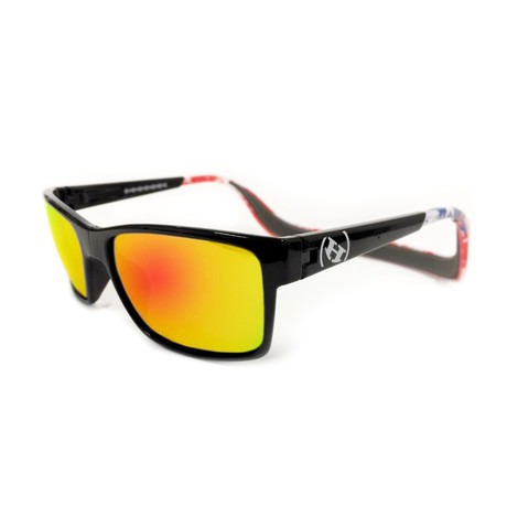 Unisex Monix Polarized Sunglasses // American Flag + Fire Chrome