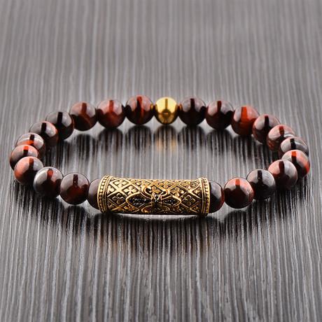 Tiger's Eye + Stainless Steel Beaded Bracelet // Gold + Red