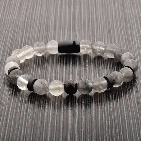 Quartz + Stainless Steel Beaded Stretch Bracelet // Gray + Black
