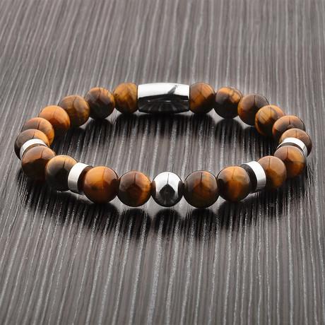 Tiger's Eye + Stainless Steel Beaded Bracelet // Brown + Silver