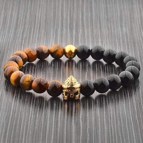 Tiger's Eye + Onyx Spartan Helmet Beaded Bracelet // Black + Brown + Gold