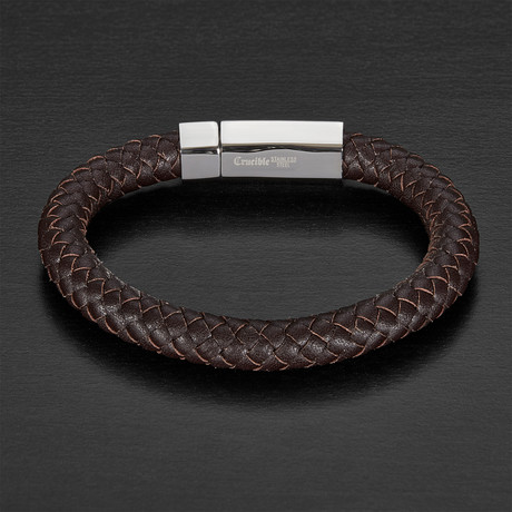 Stainless Steel + Braided Leather Bracelet // Brown + Silver