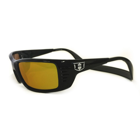 Unisex Meal Ticket Polarized Sunglasses // Black Gloss + Fire Chrome