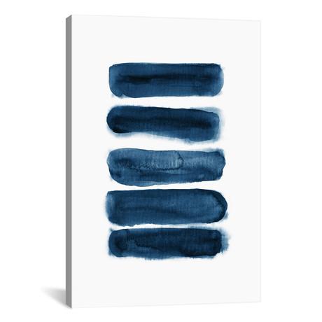 """Watercolor Brush Strokes Navy Blue // Nouveau Prints (12""""W x 18""""H x 0.75""""D)"""