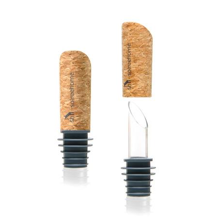 Pourist: Glass + Cork Bottle Pourers // Pair