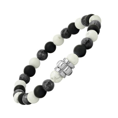 Lava + Agate Beaded Bracelet // Black + White + Gray
