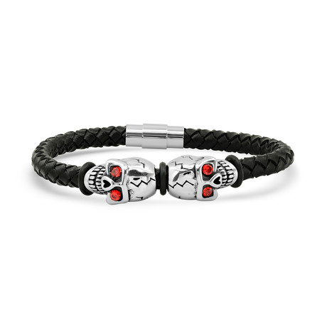 Braided Leather + Stainless Steel Skull Bracelet // Black + Silver + Red