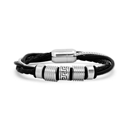 Layered Leather + Stainless Steel Wheat Chain Bracelet // Black + Silver