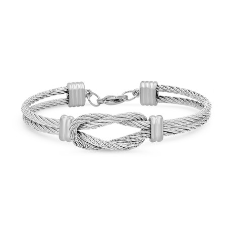 Layered Wire Cable Knot Bracelet // Metallic