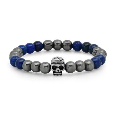 Lapis + Hematite Beaded Bracelet // Blue + Gray