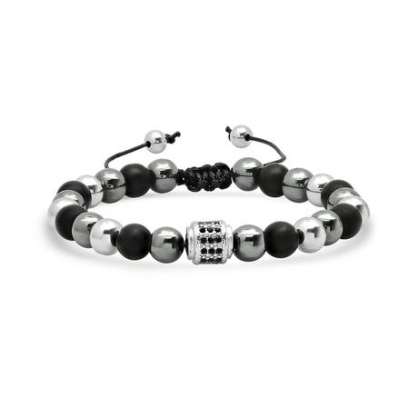Lava + Hematite + Stainless Steel Beaded Bracelet // Black + Gray