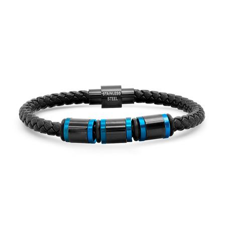 Braided Leather + Stainless Steel Bracelet // Black + Blue