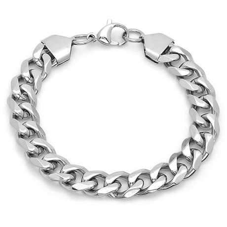 Stainless Steel Cuban Link Chain Bracelet // Silver