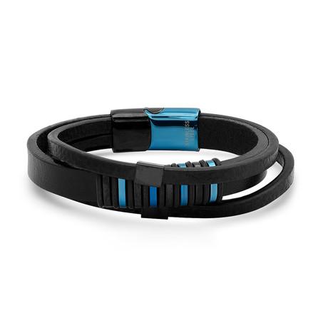 Leather Layered Bracelet // Black + Blue