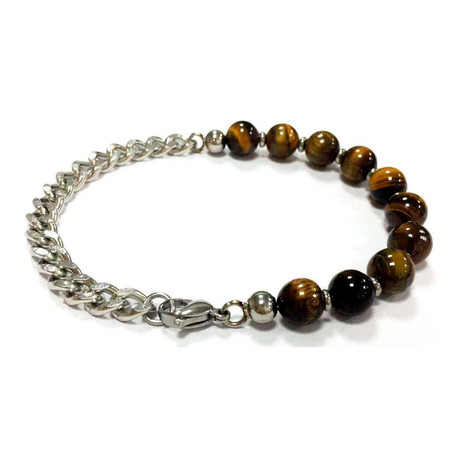 Tiger's Eye + Stainless Steel Cuban Link Chain Bracelet // Silver + Brown
