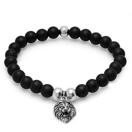 Lava Bead + Stainless Steel Lion Charm Bracelet // Black