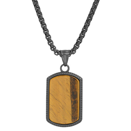 Stainless Steel + Tiger's Eye Dog Tag Pendant // Black