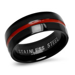 Two-Tone Stainless Steel Band Ring // Shiny // Black + Red (Size 9)