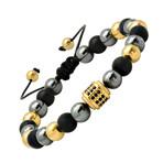 Lava + Hematite + Gold Beaded Bracelet // Black + Yellow + Gray