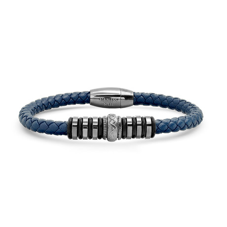 Braided Leather + Stainless Steel Bracelet // Blue + Black