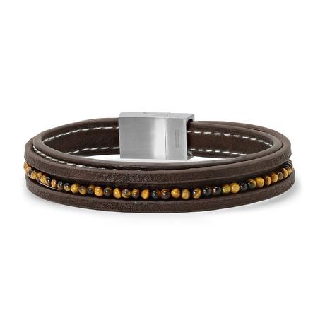 Leather + Tiger's Eye Bracelet // Brown