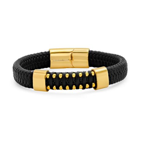 Braided Leather + Gold Bracelet // Black + Yellow